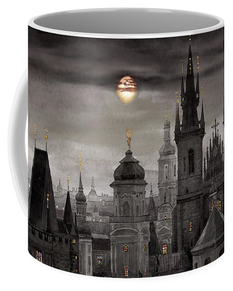 Cityscape Coffee Mug featuring the painting BW Prague City of hundres spiers by Yuriy Shevchuk