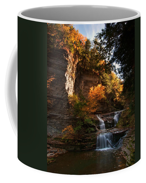 Buttermilk Falls State Park Coffee Mug featuring the photograph By Dawn's Early Light by Neil Shapiro