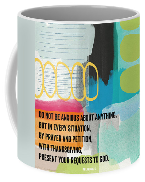 Philippians 4:6 Coffee Mug featuring the painting By Prayer And Petition- Contemporary Christian Art By Linda Wood by Linda Woods