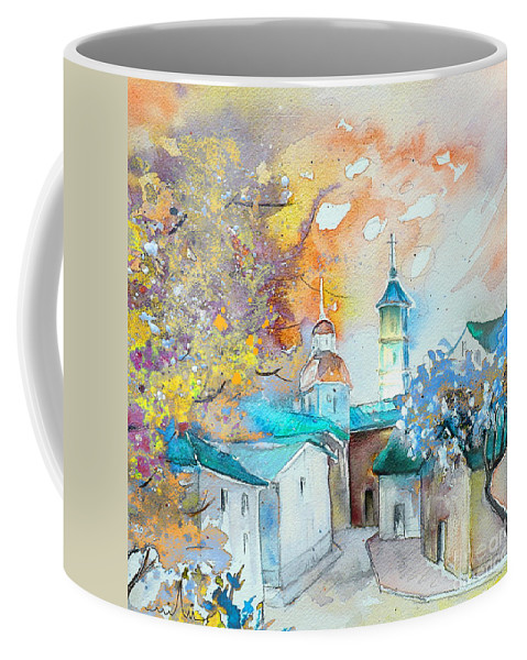 Watercolour Travel Painting Of A Village By Teruel In Spain Coffee Mug featuring the painting By Teruel Spain 03 by Miki De Goodaboom