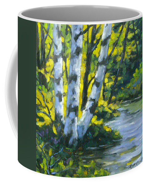 Art Coffee Mug featuring the painting By The River by Richard T Pranke