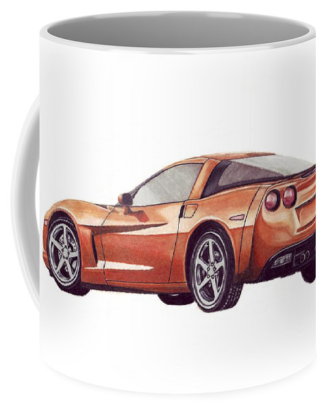 Corvette Coffee Mug featuring the drawing C6 by Kristen Wesch