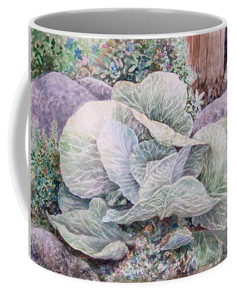 Leaves Coffee Mug featuring the painting Cabbage Head by Valerie Meotti
