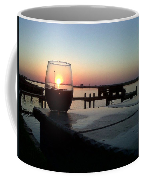 Sunset Wine Cabernet Ocean Dock Coffee Mug featuring the photograph Cabernet Sunset by Cindy New