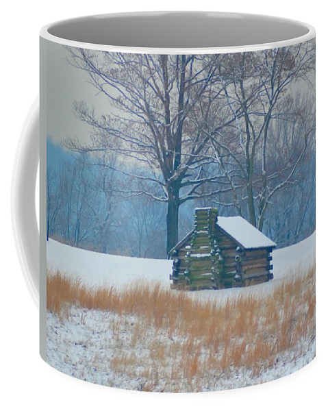 Cabin Coffee Mug featuring the photograph Cabin In The Snow - Valley Forge by Bill Cannon