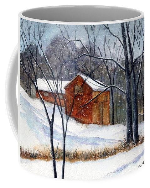 Cabin Coffee Mug featuring the painting Cabin In The Woods by Debbie Lewis