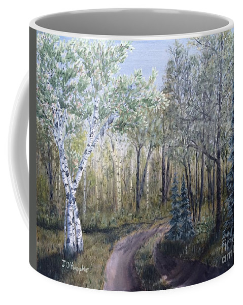 Landscape Coffee Mug featuring the painting Cabin Road by J O Huppler