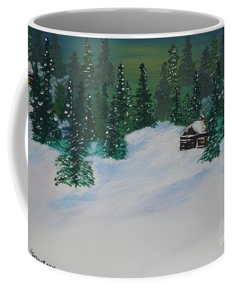 Snow Coffee Mug featuring the painting Cabins in the Woods by Jimmy Clark