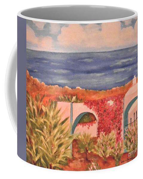 Cabo San Lucas Coffee Mug featuring the painting Cabo Garden by Laurie Morgan