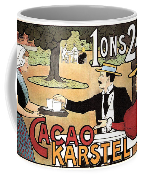 Cacao Karstel Coffee Mug featuring the mixed media Cacao Karstel - Vintage Cacao Advertising Poster by Studio Grafiikka