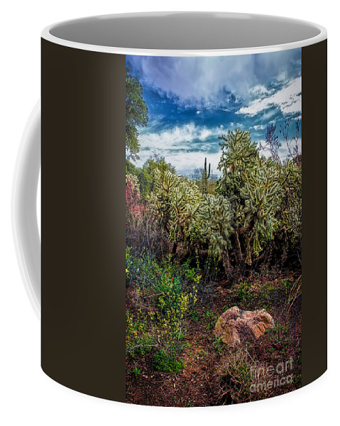 Cactus And Bird Coffee Mug featuring the photograph Cactus And Bird by Jon Burch Photography