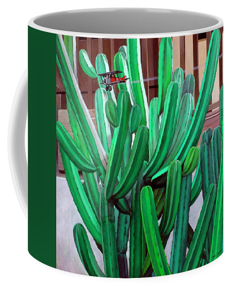 Landscape Coffee Mug featuring the painting Cactus Fly By by Snake Jagger