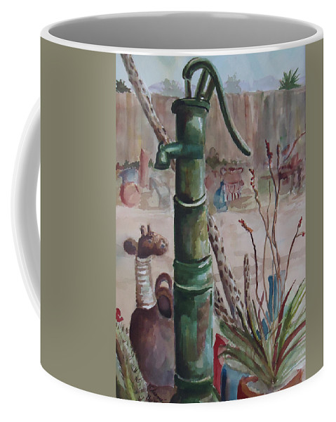 Landscape Coffee Mug featuring the painting Cactus Joes' Pump by Charme Curtin