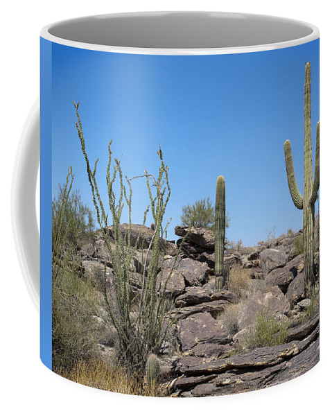 Saguaro Coffee Mug featuring the photograph Cactus Land by Kelley King