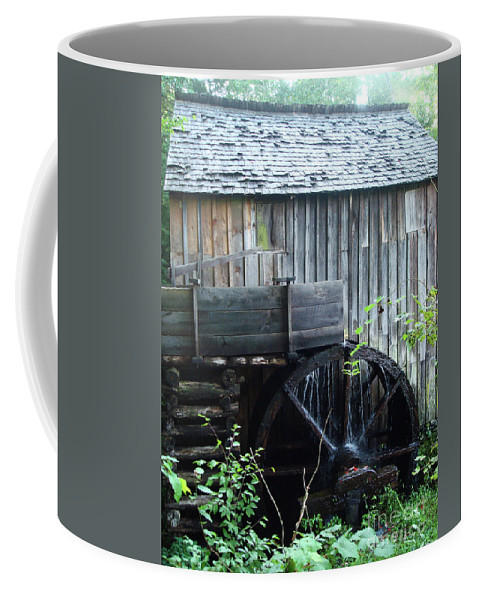 Cade's Coffee Mug featuring the photograph Cade's Cove Historic Cable Mill Water Wheel by Maili Page