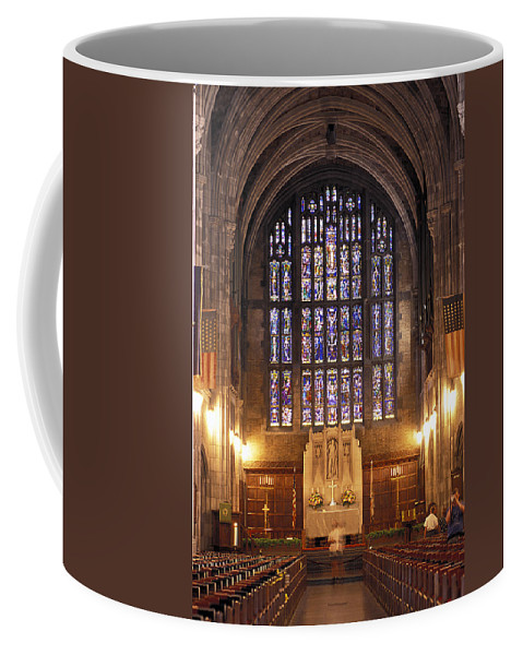 Cadet Coffee Mug featuring the photograph Cadet Chapel With Stained Glass Windows by Richard Nowitz