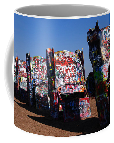 Photography Coffee Mug featuring the photograph Cadillac Ranch On Route 66 by Susanne Van Hulst