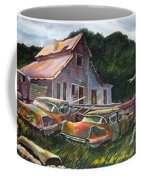 Cadillacs Coffee Mug featuring the painting Cadillac Ranch by Ron Morrison