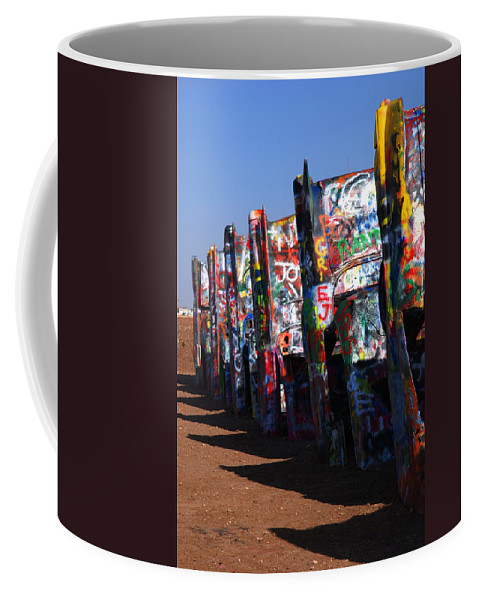 Photography Coffee Mug featuring the photograph Cadillac Ranch Route 66 by Susanne Van Hulst