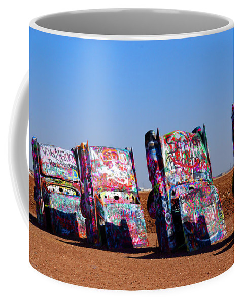 Photography Coffee Mug featuring the photograph Cadillac Ranch by Susanne Van Hulst