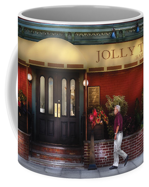 Savad Coffee Mug featuring the photograph Cafe - Jolly Trolley by Mike Savad