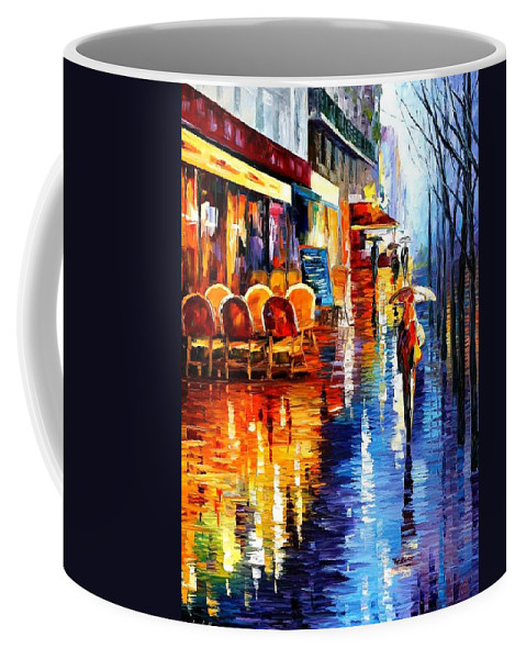Afremov Coffee Mug featuring the painting Cafe In Paris by Leonid Afremov