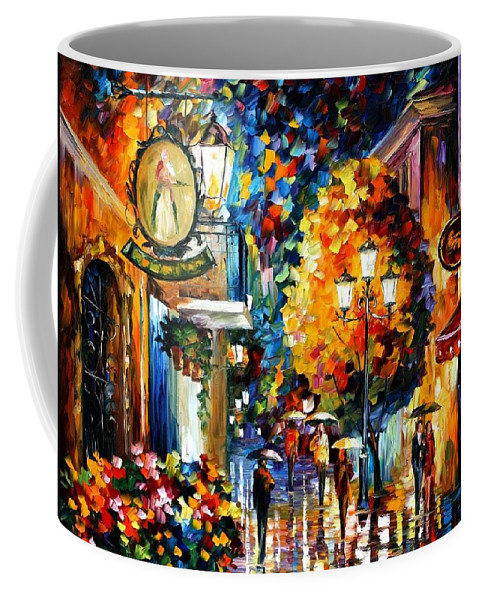Afremov Coffee Mug featuring the painting Cafe In The Old City by Leonid Afremov