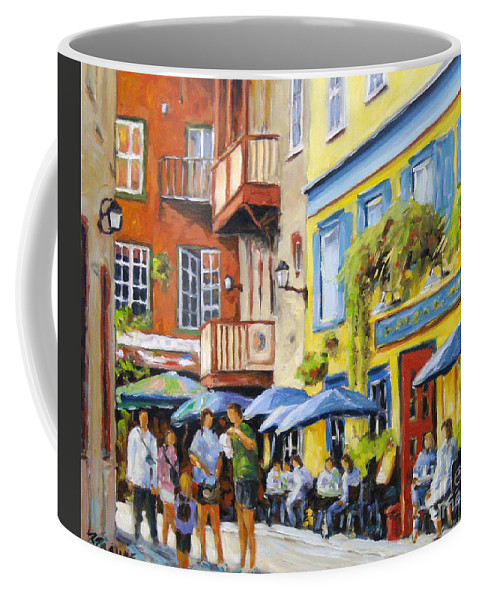 Balcony Coffee Mug featuring the painting Cafe In The Old Quebec by Richard T Pranke