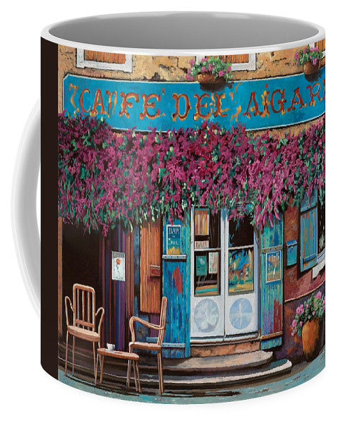 Caffe' Coffee Mug featuring the painting caffe del Aigare by Guido Borelli