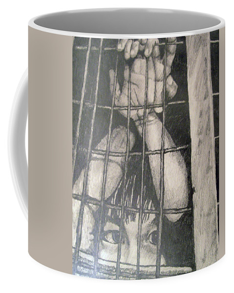 Boy Coffee Mug featuring the drawing Caged by Jean Haynes