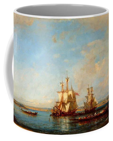 Felix Ziem Coffee Mug featuring the painting Caiques And Sailboats At The Bosphorus by Felix Ziem