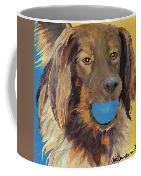 Dog Art Coffee Mug featuring the painting Caleigh by Pat Saunders-White