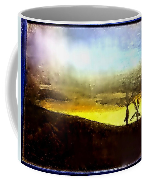 Coffee Mug featuring the drawing Cali Sunset by Andrew De Santos