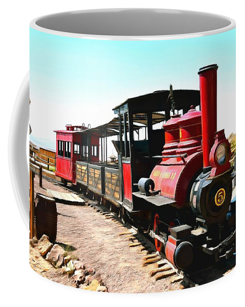 Calico And Odessa Rail Road Coffee Mug featuring the painting Calico And Odessa Rail Road by Barbara Snyder
