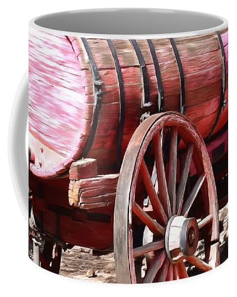 Calico Ghost Town Water Wagon Coffee Mug featuring the painting Calico Ghost Town Water Wagon by Barbara Snyder