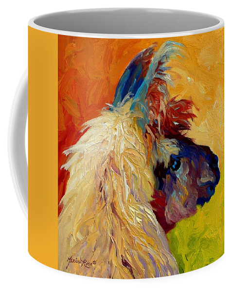 Llama Coffee Mug featuring the painting Calico Llama by Marion Rose