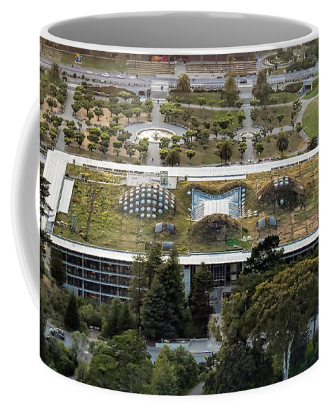 Aerial Coffee Mug featuring the photograph California Academy Of Sciences Living Roof In San Francisco by David Oppenheimer