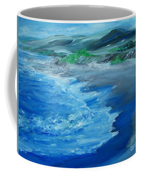 California Coast Coffee Mug featuring the painting California Coastline Impressionism by Eric Schiabor