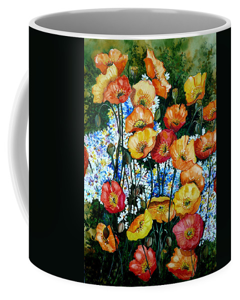 Poppy Painting Flower Painting Floral Painting California Poppy Painting Yellow Painting Orange Painting Botanical Painting Wild Poppy Painting Coffee Mug featuring the painting California Dreamz by Karin Dawn Kelshall- Best
