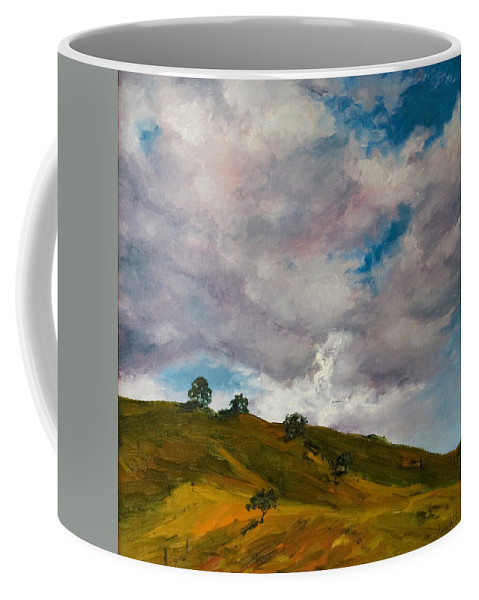 Sky Coffee Mug featuring the painting California Hills by Rick Nederlof