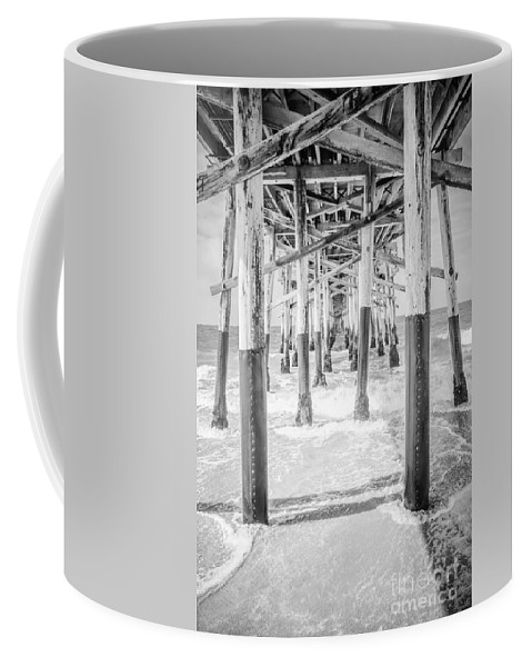 1950s Coffee Mug featuring the photograph California Pier Black And White Picture by Paul Velgos