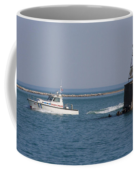 Chicago Windy City Police Lake Michigan Water Boat Fast Wave Wake Blue Sky Coffee Mug featuring the photograph Call Of Duty by Andrei Shliakhau