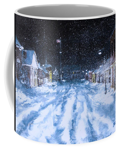 Snow Coffee Mug featuring the painting Call Out The Plows by Jack Skinner