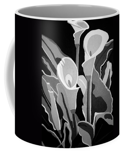 Abstract Coffee Mug featuring the painting Calla Lilies Bw by Angelina Vick