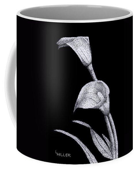 Flower Coffee Mug featuring the drawing Calla by Linda Hiller