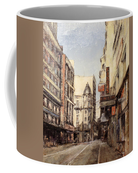 Leon Coffee Mug featuring the painting Calle Independencia -Leon by Tomas Castano