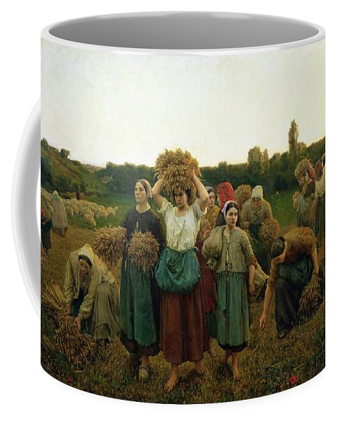 Calling Coffee Mug featuring the painting Calling In The Gleaners by Jules Breton