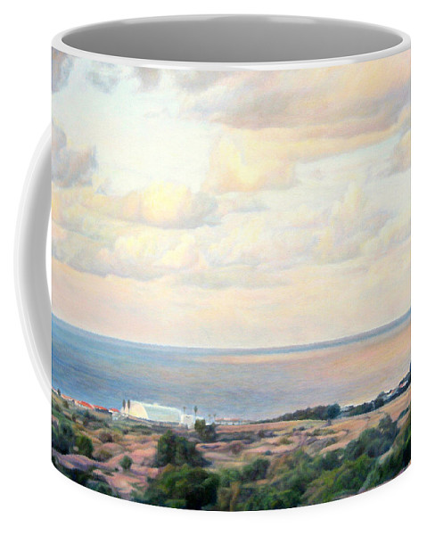 Beach Coffee Mug featuring the painting Calm Sea... View From My Balkon by Maya Bukhina