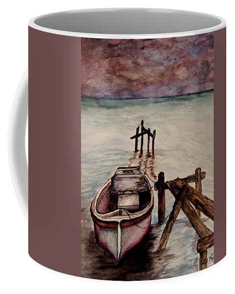 Boat Coffee Mug featuring the painting Calm Waters by Lil Taylor