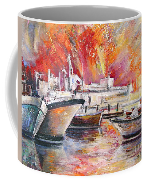 Harbour Painting Spain Seascape Acrylics Coffee Mug featuring the painting Calpe Harbour Spain by Miki De Goodaboom